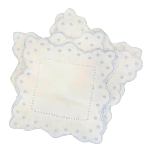Scallop and Dot Cocktail Napkins, Blue, Set of Four For Sale