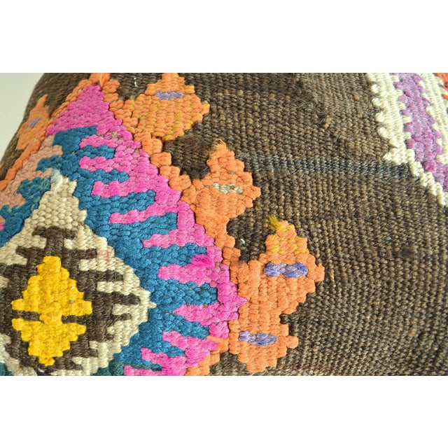 "Boho Chic 16"" Vintage Handmade Kilim Rug Pillow Cover For Sale - Image 3 of 4"