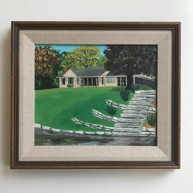 Nicely framed portrait of a mid century rambler. Likely a Midwestern home, as the piece was professionally framed in...