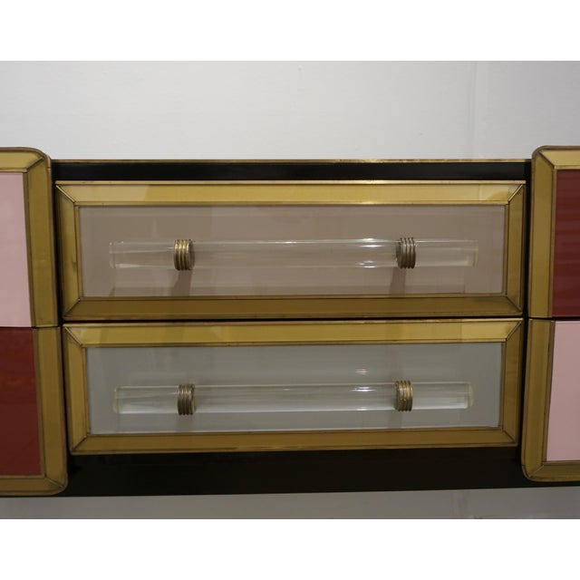 1960 Italian Vintage Rose Pink Gray Wine Gold 6 Drawers Sideboard / Console For Sale - Image 12 of 13