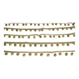 Kravet Couture Satin Beaded Fringe in Jewel Green Gold Tassel Trim - 13-3/4y For Sale