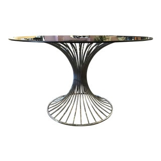 1970s Mid-Century Modern Chrome and Smoked Glass Dining Table For Sale