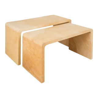 Jean-Michel Frank-Style Nesting Parchment Coffee Tables - a Pair For Sale
