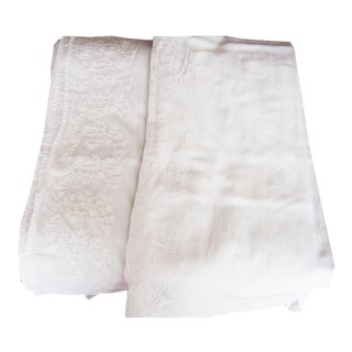 Fine Linen Embroidery Curtains - Set of 2