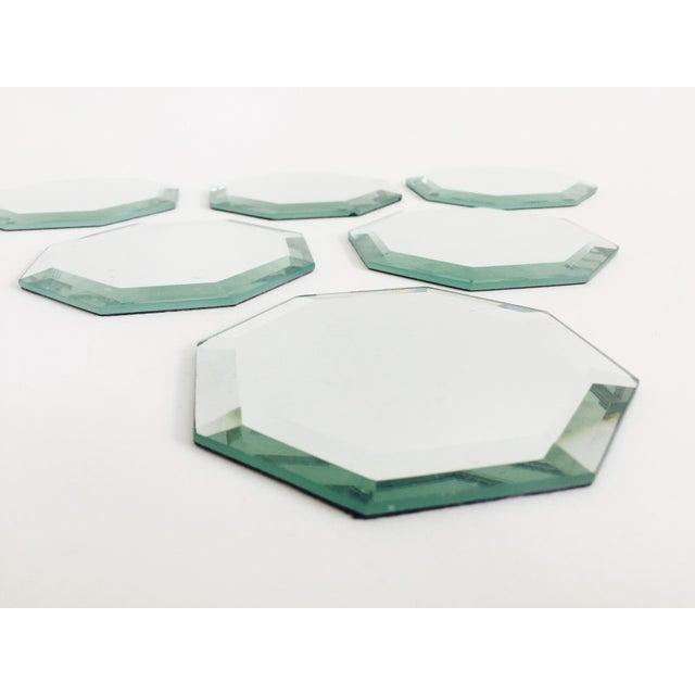 Art Deco Vintage Octagonal Mirror Coasters - Set of 6 For Sale - Image 3 of 7