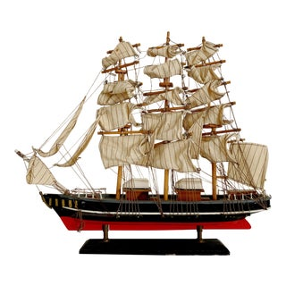 Vintage Navy and Red Painted Boat Model Cutty Sark For Sale