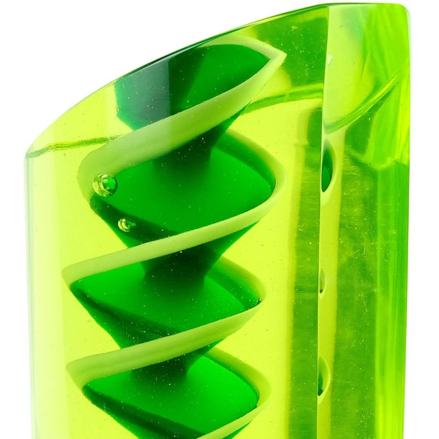 Mid 20th Century Murano Glowing Sommerso Ribbons Italian Art Glass Uranium Rod Bookend Sculptures For Sale - Image 5 of 7