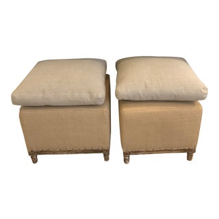 HD Buttercup Linen Stools- A Pair For Sale