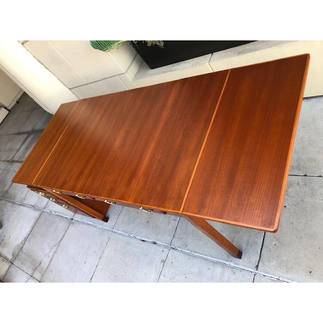 1950s 1950s Scandinavian Modern David Rosén Desk / Skrivbord Nordiska Kompaniet/ Drop Leaf Writing Desk For Sale - Image 5 of 8