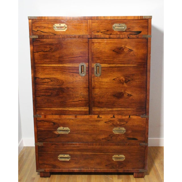 20th Century Campaign John Stuart Rosewood and Brass Highboy Dresser For Sale - Image 12 of 13