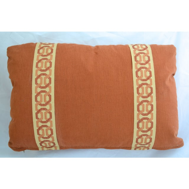 14 x 20 Rust Lumbar Pillow with Kravet Accent Tape - Image 2 of 4