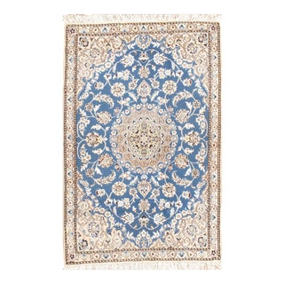 "Fine Persian Nain Silk & Wool Rug - 2'11"" X 4'6"" For Sale"