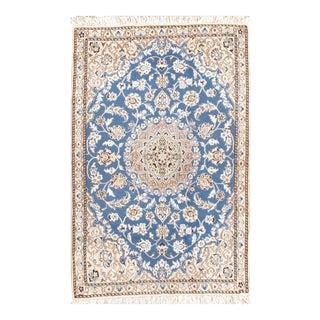 "Persian Nain Silk & Wool Rug - 2'11"" X 4'6"" For Sale"
