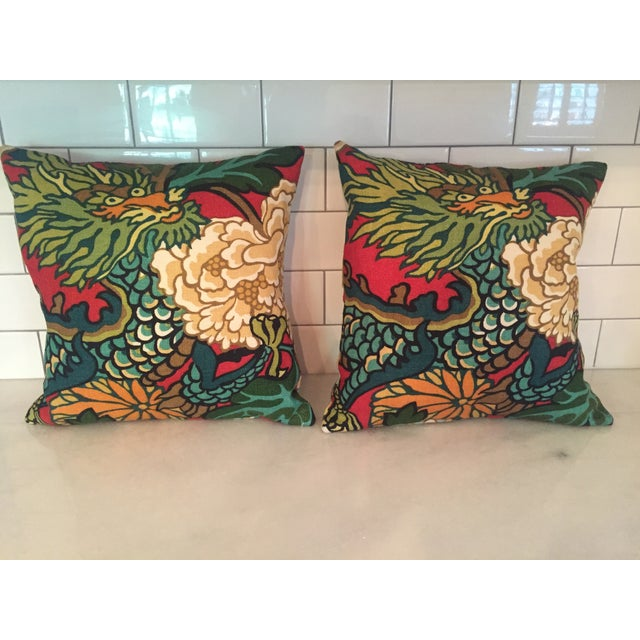 Schumacher Chiang Mai Dragon in Red Pillows - Pair - Image 2 of 11