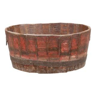 Vintage Teak Grain Barrel Planter For Sale