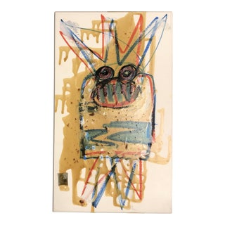 Original Vintage Wayne Cunningham Abstract Drawing/Encaustic/Collage Painting For Sale