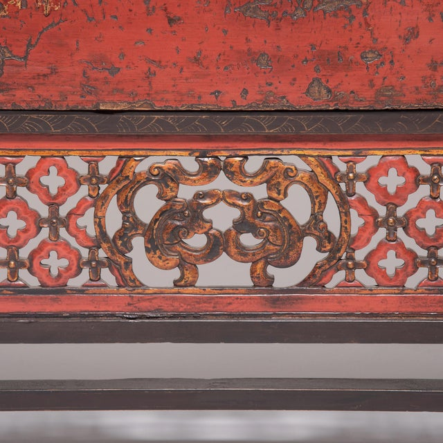 19th Century Chinese Gilt Red Lacquered Cabinet For Sale - Image 9 of 10