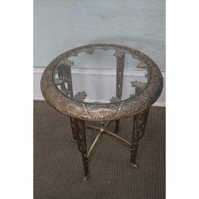 Art Deco Antique Brass & Glass Round Side Table - Image 2 of 10