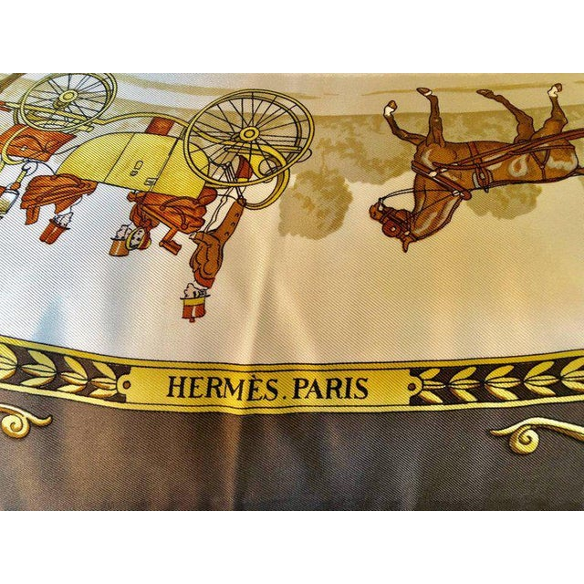 Enormous Hermes 'La Promenade De Longchamps' overstuffed silk pillow. One out of a large collection of vintage throw or...