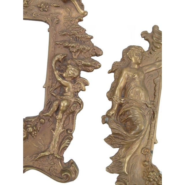 Baroque 1970s Bronze Frames With Angel Motifs - Pair For Sale - Image 3 of 8