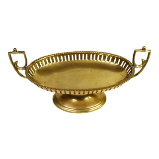 Craft Inc Pedestal Oval Shape Brass Dish Trinket Dish For Sale