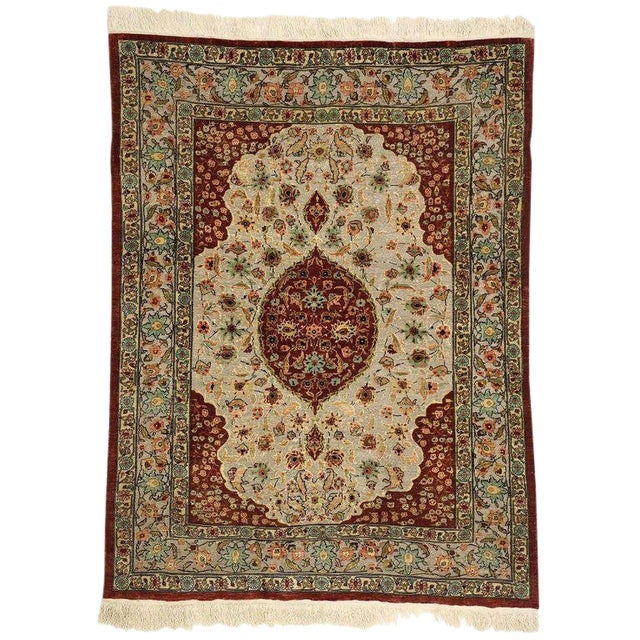 Early 20th Century Antique Turkish Silk and Gold Hereke Rug - 3′4″ × 4′5″ For Sale