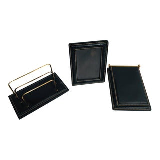 Vintage Desk Set, Black Leather and Brass Letter Rack, Picture Frame and Notepad For Sale