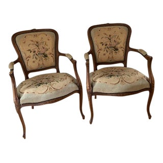 1960s Vintage Needlepoint Chairs- a Pair For Sale