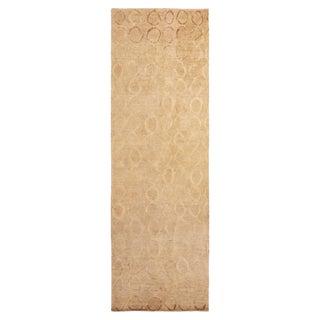 Vintage Beige Brown Hemp Wool and Silk Geometric Runner- 4′2″ × 16′11″ For Sale