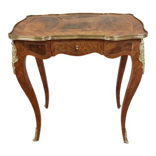 1930's French Louis XV Side Table With Burl Wood Drawer and Bronze Ormolu For Sale