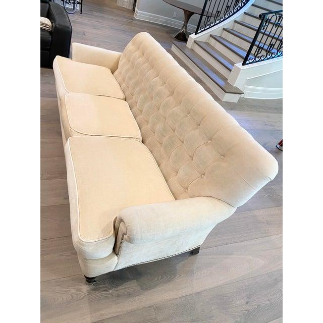 2010s Grace Home Furnishings Beige Velvet NailHead Contemporary Sofa For Sale - Image 5 of 13