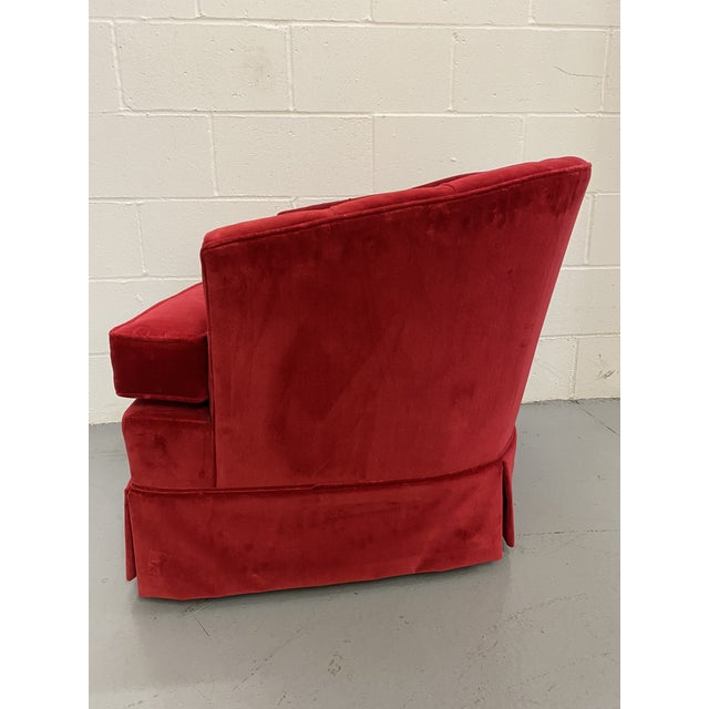 1960s Red Velvet Button Tucked Arm Chair For Sale - Image 4 of 6