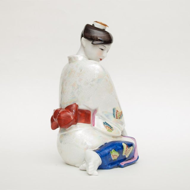 1950s 1950s Vintage Japanese Porcelain Sake Bottle or Figurine For Sale - Image 5 of 12