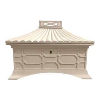 Myrna Allan Asian Modern White Grande Pagoda Jewelry Box For Sale