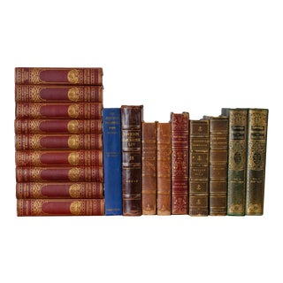 Antique Decorative Leather Books, Lot of 18 For Sale