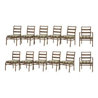 Twelve Robsjohn-Gibbings for Widdicomb Armless Dining Chairs, New Paul Smith Fabric For Sale