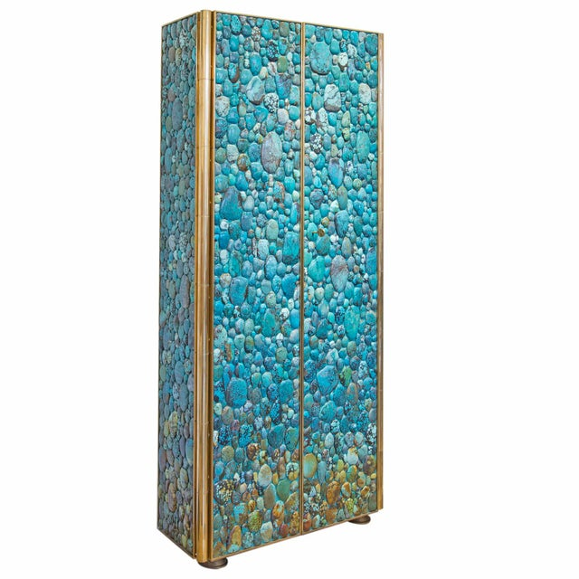 Contemporary Kam Tin - Turquoise Tall Cabinet Made of Real Turquoise Cabochons, France,2014 For Sale - Image 3 of 9