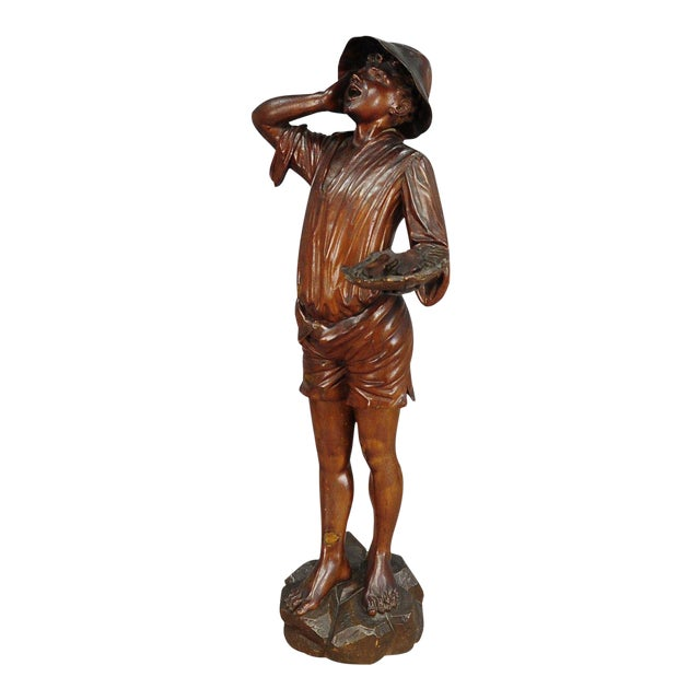 Antique Wooden Carved Statue Of A Young Fisherman For Sale