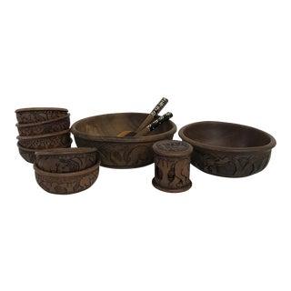 Hand Carved African Serving Set - Set of 16