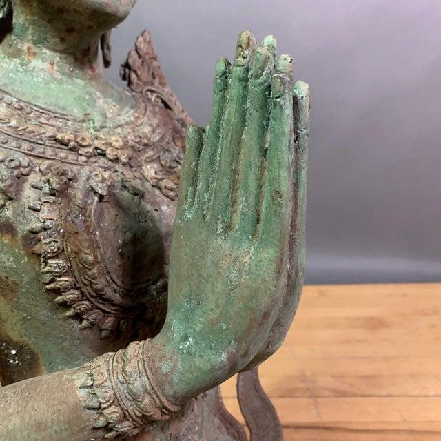 "Early 1900s Mythologic Thepphanom Angel 30"" Bronze Statue, Thailand For Sale - Image 11 of 12"
