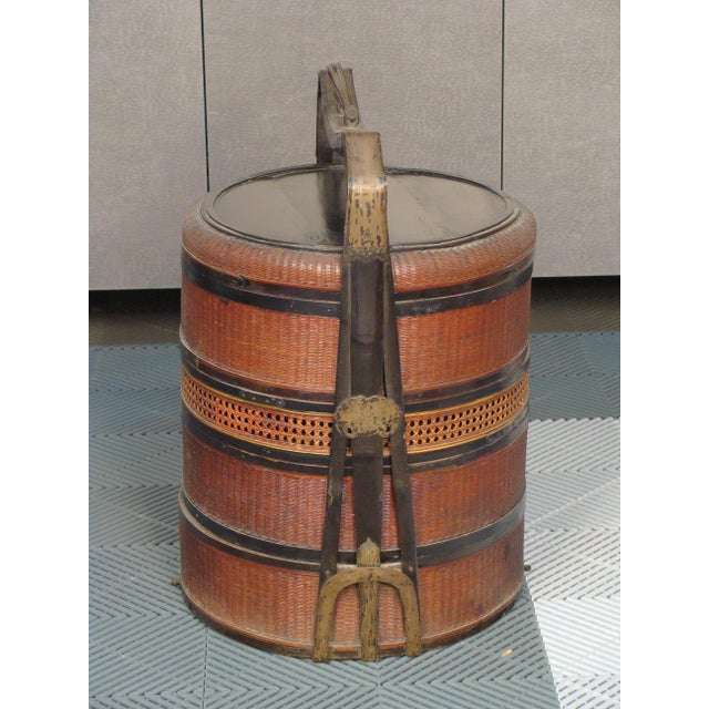 19th Century Chinese Bamboo Picnic Boxes- A Pair - Image 4 of 8
