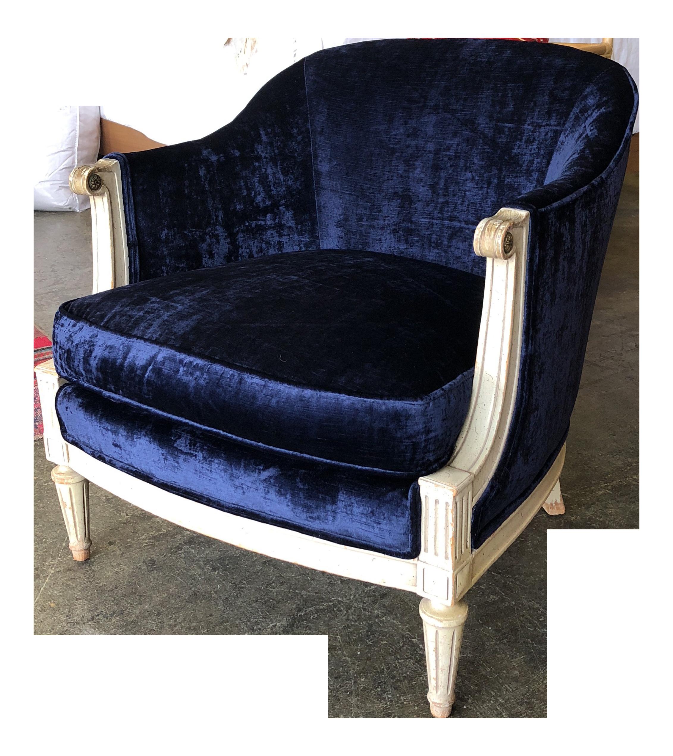 Vintage Blue Velvet Barrel Chair