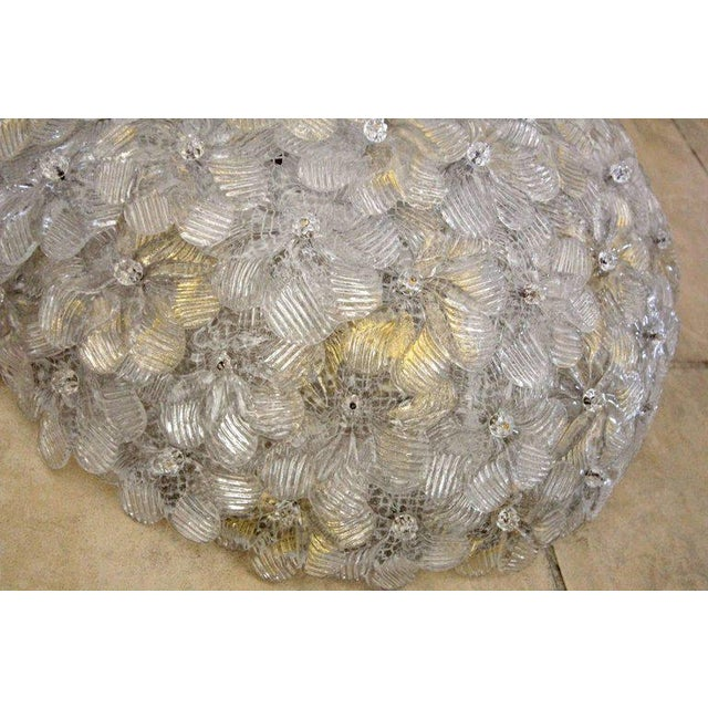 Brass 1970s Murano Glass Floral Pendant Flush Mount Lights - A Pair For Sale - Image 7 of 13