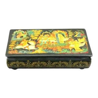 Antique Russian Black Gold Lacquer Box Signed by Kornilov Alexander Albertovich For Sale