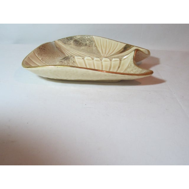 Mid Century Beige and Gold Ashtray - Image 7 of 7