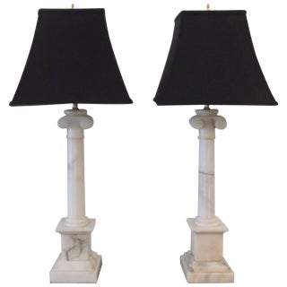 Pair of Neoclassic Carved Marble Column Lamps For Sale