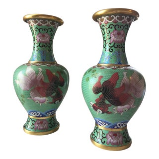 Green Cloisonné Vases - A Pair For Sale