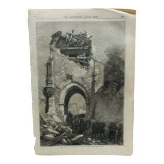 "Mid 19th C. Antique ""The War: Fall of Strasbourg - Entry of German Troops"" Print For Sale"