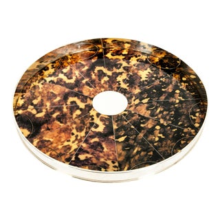 English Silver Plated Tortoiseshell Interior Barware Serving Tray For Sale