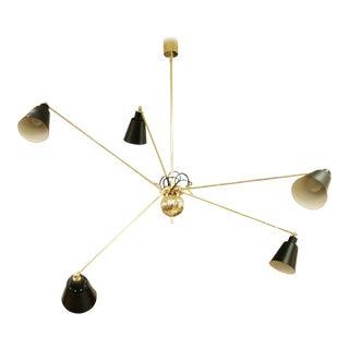 Star Five Brass Ceiling Light